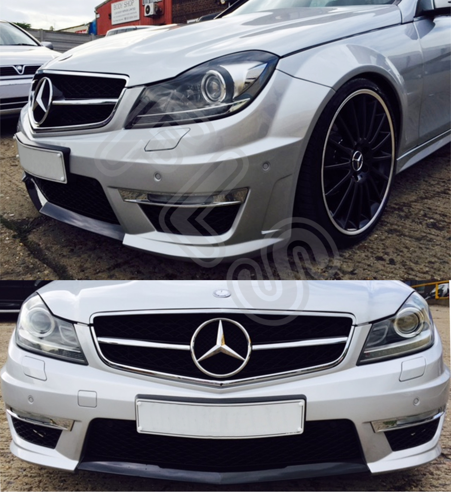 mercedes benz 07 12 w204 amg c63 body kit with headlights. Black Bedroom Furniture Sets. Home Design Ideas